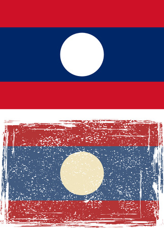 cleaned: Laotian grunge flag. Vector illustration. Grunge effect can be cleaned easily.