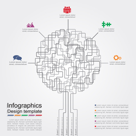 Infographic report template with text and icons. Vector illustration