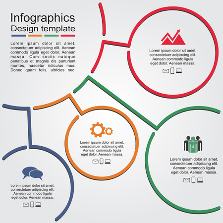 Infographic report template with lines and icons. Vector illustration