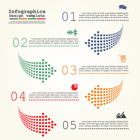 direction arrows: Abstract infographic with dots arrows. Can be used for workflow layout. Vector illustration Eps8.