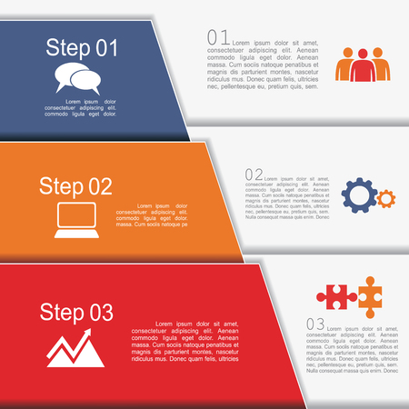folder design: Infographic report template with text and icons. Vector illustration