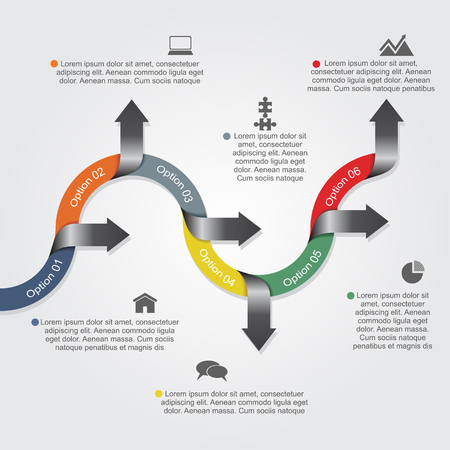 flow chart: Infographic report template with arrows and icons. Vector illustration Illustration