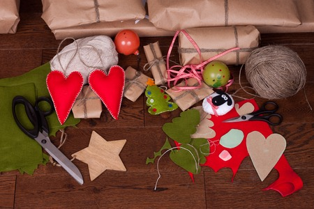 christmas gift: Christmas gift and decorations on wooden background