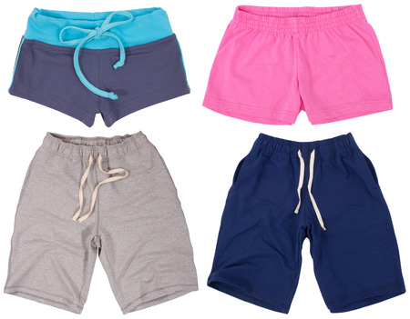cotton panties: Set of male and female shorts. Isolated on a white background.