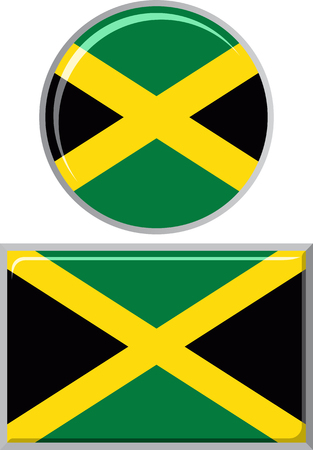 jamaican: Jamaican round and square icon flag. Vector illustration