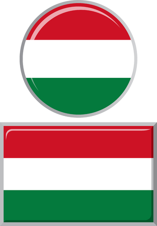 distance marker: Hungarian round and square icon flag. Vector illustration
