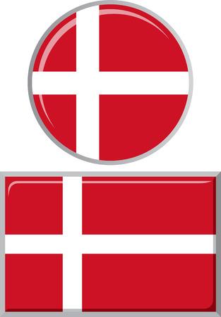 danish flag: Danish round and square icon flag. Vector illustration  Illustration