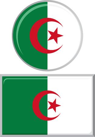 algerian flag: Algerian round and square icon flag. Vector illustration Eps 8.