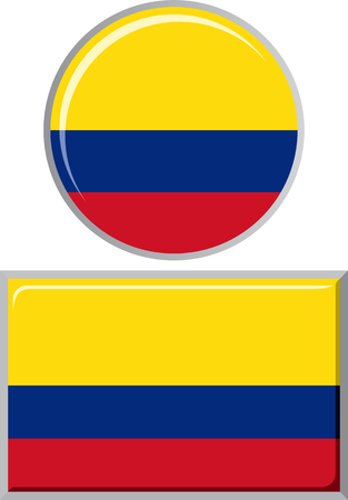 colombian: Colombian round and square icon flag. Vector illustration Eps 8.