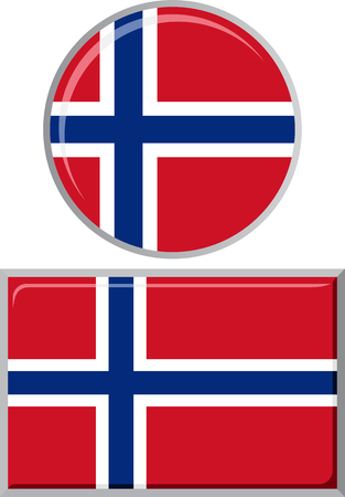 norwegian flag: Norwegian round and square icon flag. Vector illustration Eps 8.