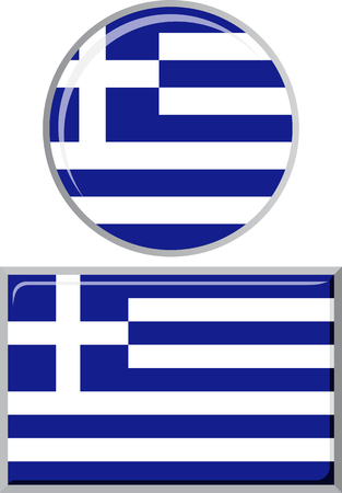 distance marker: Greek round and square icon flag. Vector illustration Eps 8.