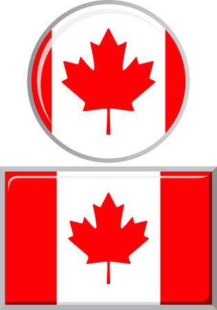 distance marker: Canadian round and square icon flag. Vector illustration Eps 8.