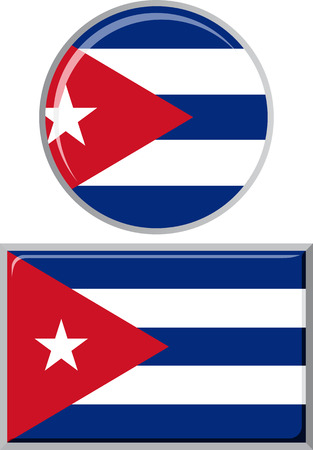 cuban flag: Cuban round and square icon flag. Vector illustration Eps 8.