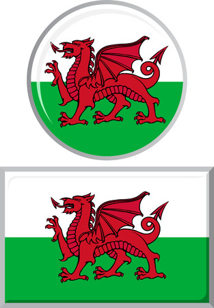 welsh flag: Welsh round and square icon flag. Vector illustration Eps 8.