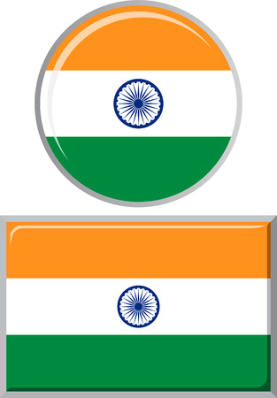 flag icons: Indian round and square icon flag. Vector illustration Eps 8.