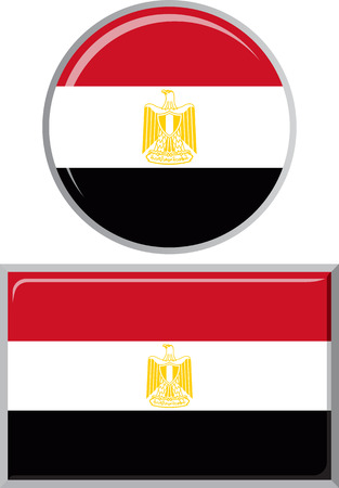 glossy button: Egyptian round and square icon flag. Vector illustration Eps 8. Illustration