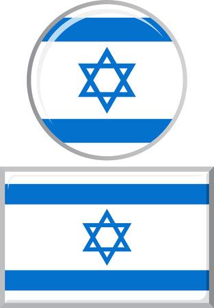 israeli: Israeli round and square icon flag.