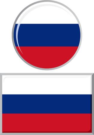 Russische rond en vierkant pictogram vlag. Stock Illustratie