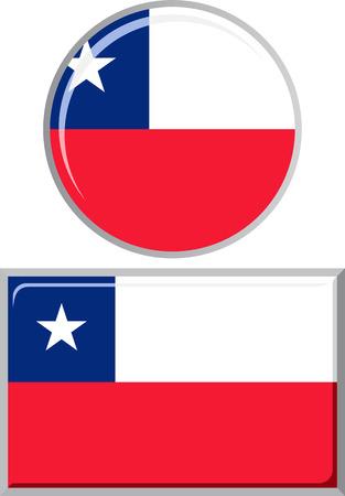 chilean flag: Chilean round and square icon flag