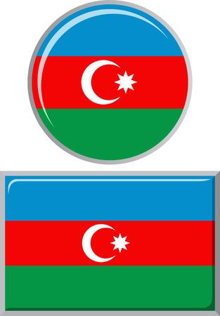 azerbaijani: Azerbaijani round and square icon flag