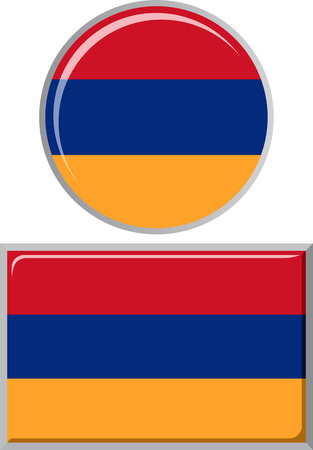 armenian: Armenian round and square icon flag. Vector illustration Eps 8. Illustration