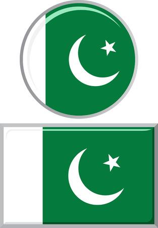 pakistani: Pakistani round and square icon flag. Vector illustration Eps 8.