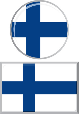 finnish: Finnish round and square icon flag. Vector illustration Eps 8.