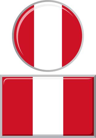 peruvian: Peruvian round and square icon flag Illustration