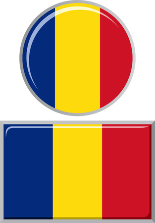 romania: Romanian round and square icon flag. Vector illustration Eps 8.