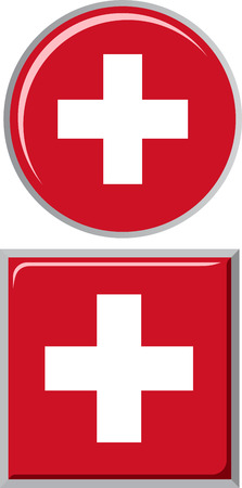 swiss flag: Swiss round and square icon flag. Vector illustration Eps 8.