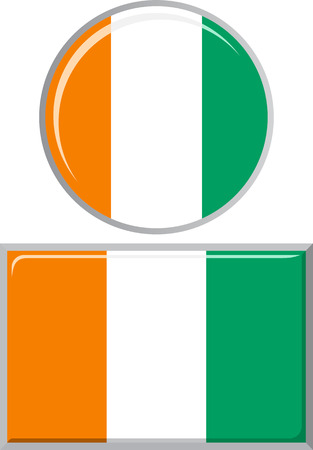 cote ivoire: Cote d Ivoire round and square icon flag. Vector illustration Eps 8.