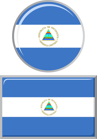 nicaraguan: Nicaraguan round and square icon flag. Vector illustration Eps 8.