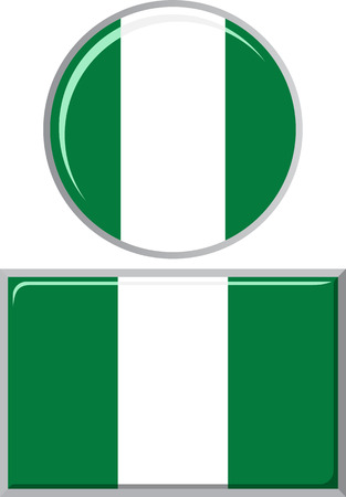 nigerian: Nigerian round and square icon flag. Vector illustration Eps 8. Illustration