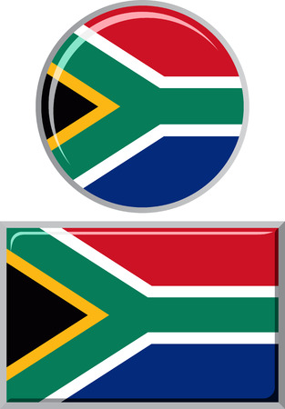 south african flag: South African round and square icon flag. Vector illustration Eps 8. Illustration