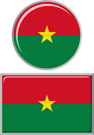 distance marker: Burkina Faso round and square icon flag. Vector illustration Eps 8.