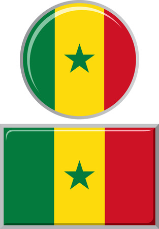 senegalese: Senegalese round and square icon flag. Vector illustration Eps 8.