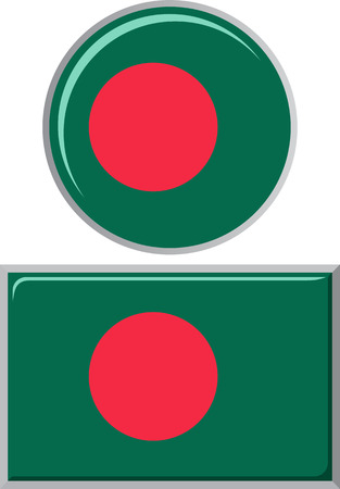 flag icons: Bangladesh round and square icon flag. Vector illustration Eps 8. Illustration