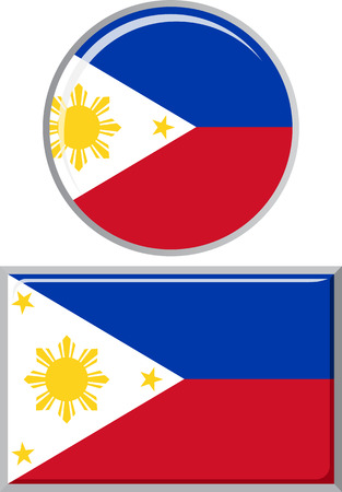 distance marker: Philippines round and square icon flag. Vector illustration Eps 8.