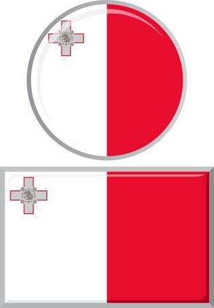 maltese: Maltese round and square icon flag. Vector illustration Eps 8. Illustration