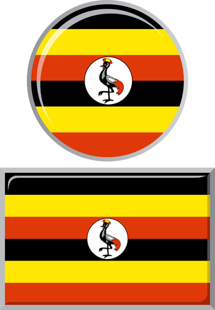 ugandan: Ugandan round and square icon flag. Vector illustration Eps 8.