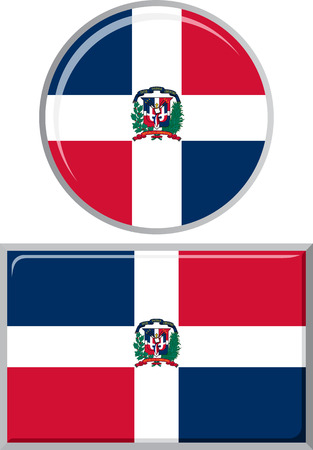 distance marker: Dominican Republic round and square icon flag. Vector illustration Eps 8.