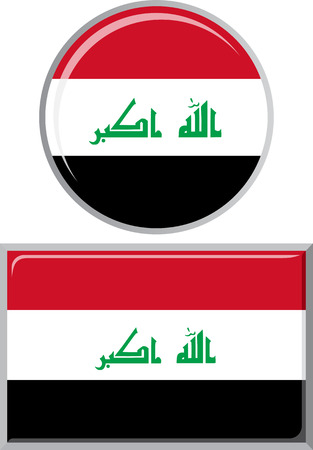 iraqi: Iraqi round and square icon flag. Vector illustration Eps 8.