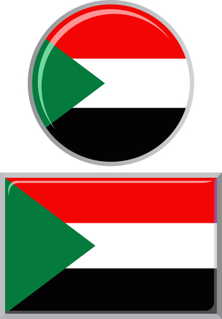 distance marker: Sudanese round and square icon flag. Vector illustration Eps 8.
