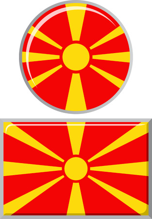 macedonian flag: Macedonian round and square icon flag. Vector illustration Eps 8.