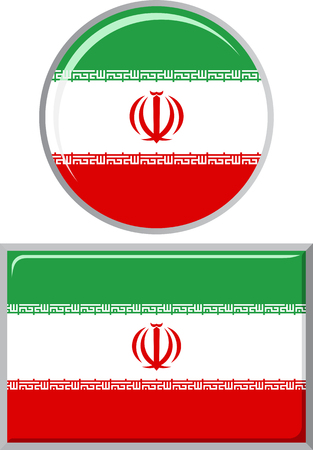 iranian: Iranian round and square icon flag. Vector illustration Eps 8.