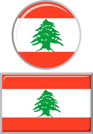 lebanese: Lebanese round and square icon flag. Vector illustration Eps 8. Illustration