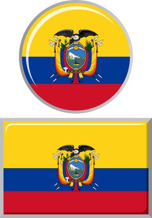 distance marker: Ecuadorian round and square icon flag. Vector illustration Eps 8. Illustration