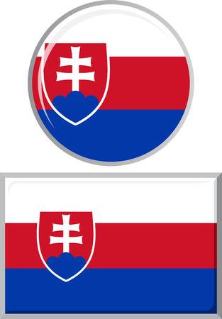 slovakian: Slovakia round and square icon flag. Vector illustration Eps 8. Illustration