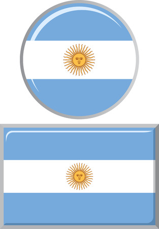 argentinean: Argentinean round and square icon flag. Vector illustration Eps 8.