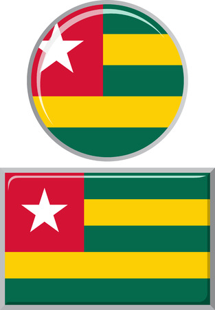 distance marker: Togolese round and square icon flag. Vector illustration Eps 8.